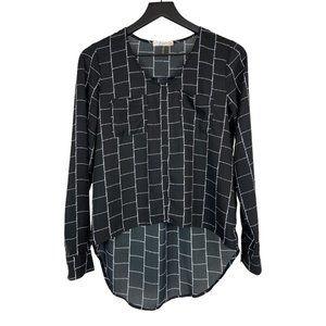 Freebrid Black White Blouse Long Sleeve Semi Sheer